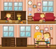 Scène de maison avec des enfants faisant différentes activités