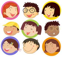 Children with happy face on round badges