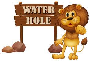 León y signo de pozo de agua