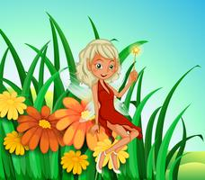 A garden at the hilltop with a fairy