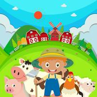 Farmer and farm animals on the farm