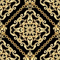 Seamless damask pattern. Golden beige on black texture with chains.