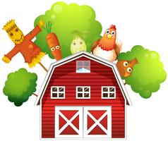A barn with a chicken and fruits at the back