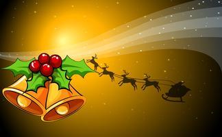 Una tarjeta navideña con campanas y un trineo con renos.