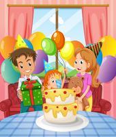 Geburtstagsfeier mit Familie und Kuchen