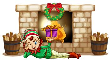 An elf in front of the fireplace