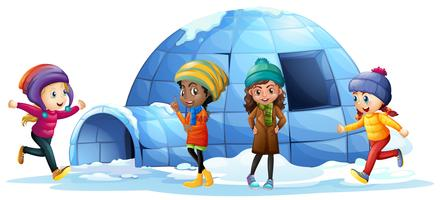 Children playing around igloo