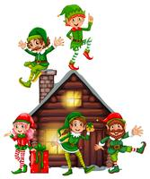 Many elves on the cabin