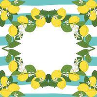 Plantilla de tarjeta con el texto. Marco tropical de las frutas del limón de las frutas cítricas en el fondo linear de los azules turquesa del vintage.