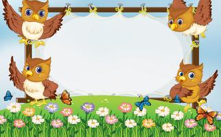 Frame template with owls flying in garden