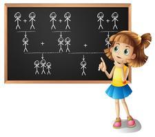 Klein meisje en stamboom op het bord