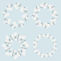 Definir a coleção de quadros florais. A camomila e esquece-me-não-floresce teste padrão redondo no fundo azul.