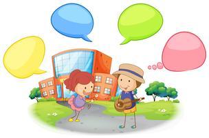 Estudante infront da escola com balão de fala