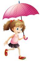 Kleines Mädchen, das Regenschirm verwendet