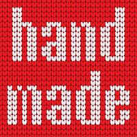 Knitted Text. Hand made. In red and white colors. Vector illustration