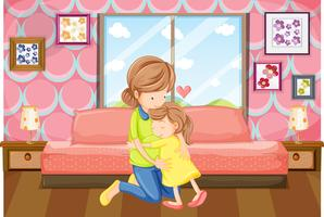 Mother and daughter hug in bedroom