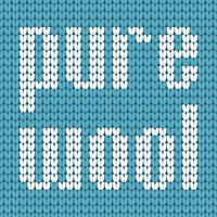 Knitted Text. Pure wool. In blue and white colors. Vector illustration.