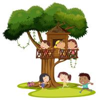 Many kids playing in the treehouse