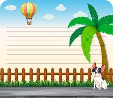 Línea de diseño de papel con perro en la carretera.