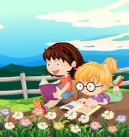 Duas meninas, livro leitura, em, jardim