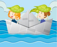 Paper boat with two girls