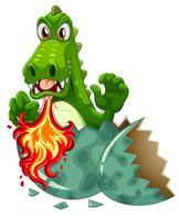 Dragón soplando fuego en cáscara de huevo