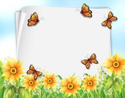 Diseño de papel con mariposas y flores.