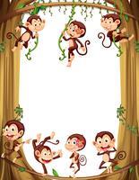 Design de fronteira com macacos subindo na árvore