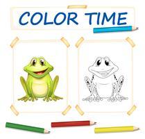 Modèle de coloration avec une grenouille mignonne