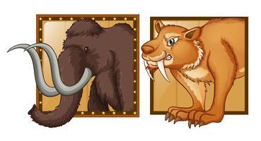 Mamute e tigre selvagem em crachás