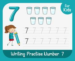 Number seven tracing worksheets