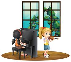 Two girl playing music in room