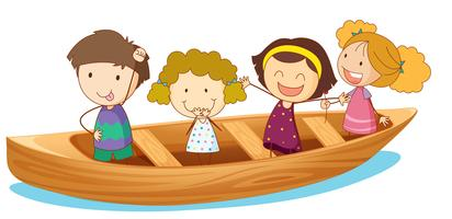 Happy kids rowing boat