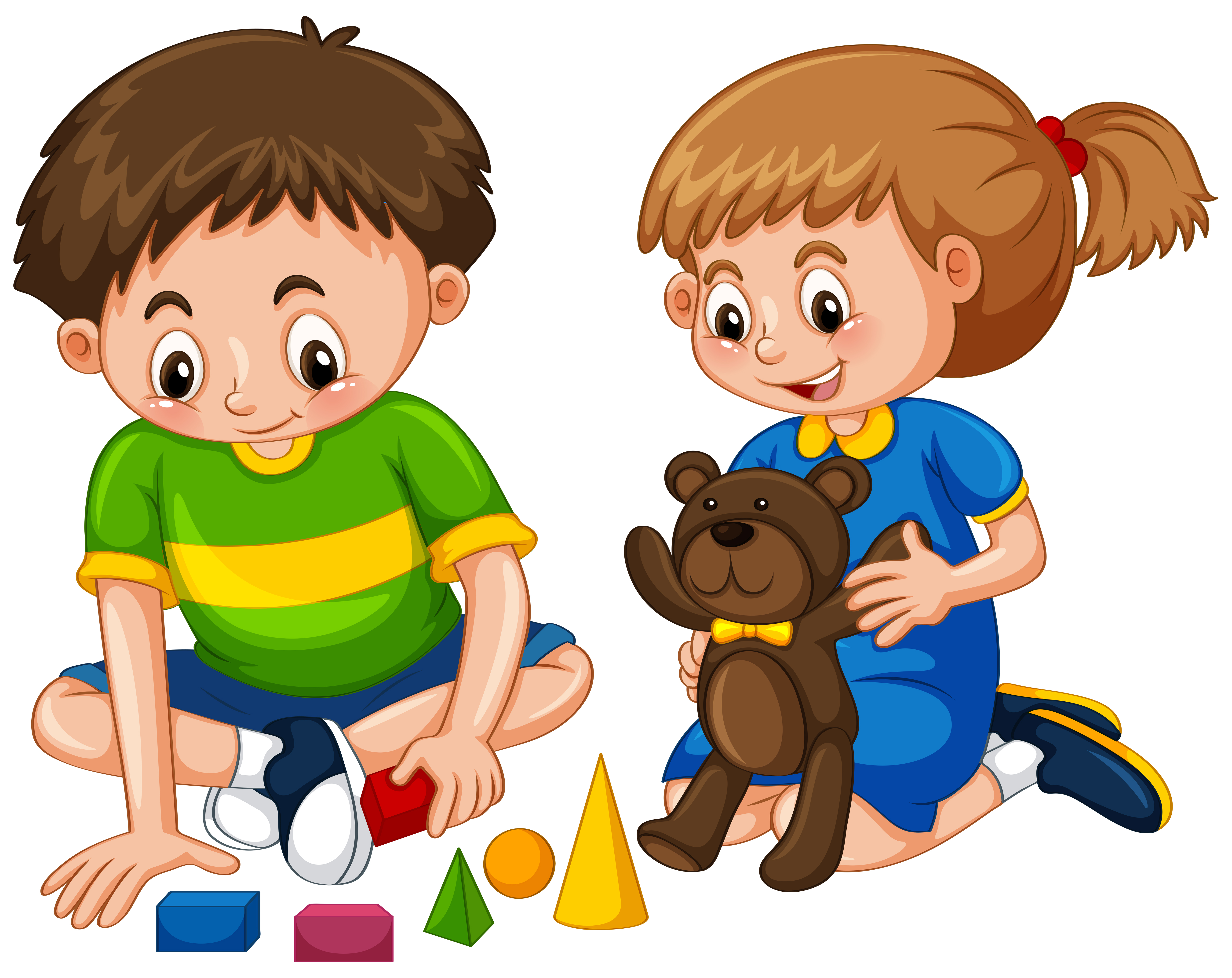 Boy And Girl Play Toys Download Free Vectors Clipart Graphics