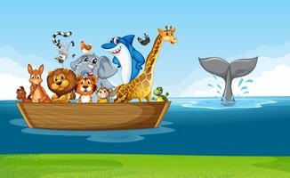 Wild animals riding on wooden boat
