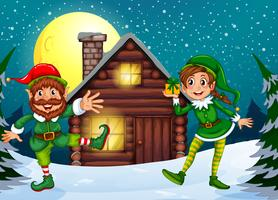 Two elves at the wood cabin