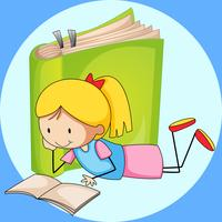 Girl reading book with green book in background
