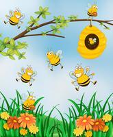 Escena con abejas y colmenas en jardín
