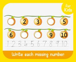 Write each missing number worksheet