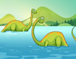 Dinosaurs standing in the river