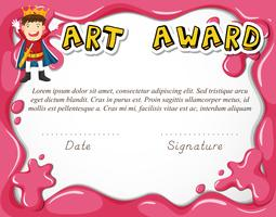Art award certificate with boy as hero