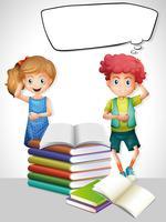 Plantilla de bocadillo con niños y libros.