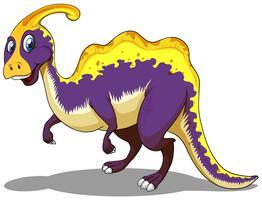 Paarse parasaurolophus die alleen staat