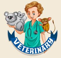 Vet and wild animals with sign