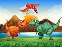 Dinosaurs fighting in the field