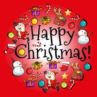 Tarjeta navideña con santa y adornos.