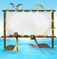 Design de moldura com dinossauros no mar
