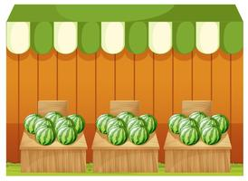 A shop of watermelons with empty boards