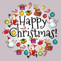 Tarjeta de feliz navidad con santa y objetos