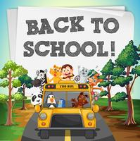 Back to school theme with animals on bus